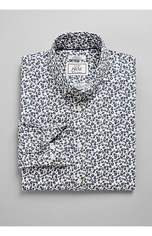 Men's Shirts, 1905 Collection Tailored Fit Button-Down Collar Floral Sportshirt - Jos A Bank