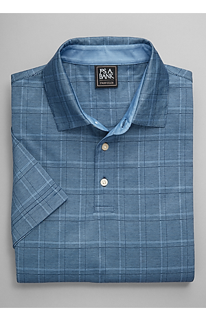 Men's FLYOUT_CATEGORY, Traveler Collection Traditional Fit Plaid Short-Sleeve Polo - Big & Tall - Jos A Bank