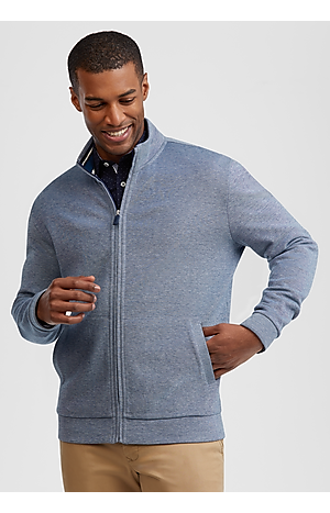 Men's Sweaters, 1905 Collection Tailored Fit Full Zip Mock Neck Knit - Jos A Bank