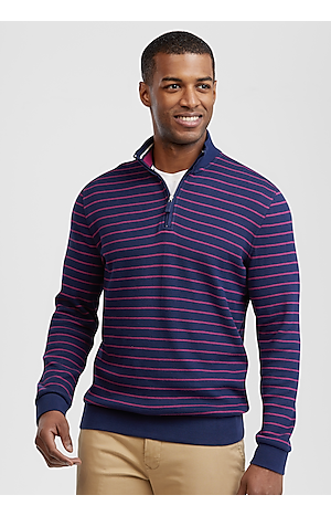 Men's Sweaters, 1905 Collection Tailored Fit Stripe Quarter Zip Mock Neck Pique Knit - Jos A Bank