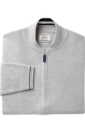 Men's Sweaters, 1905 Collection Tailored Fit Full-Zip Baseball Sweater Jacket - Jos A Bank
