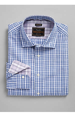 Men's Shirts, Reserve Collection Tailored Fit Button-Down Collar Plaid Sportshirt - Jos A Bank