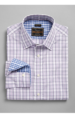 Men's Shirts, Reserve Collection Tailored Fit Spread Collar Plaid Sportshirt - Jos A Bank