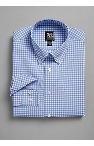 Men's Shirts, Traveler Collection Slim Fit Button-Down Collar Check Sportshirt - Jos A Bank