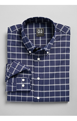 Men's Shirts, Traveler Collection Slim Fit Button-Down Collar Gridded Sportshirt - Jos A Bank