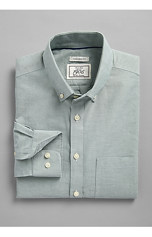 Men's Shirts, 1905 Collection Tailored Fit Button-Down Collar Solid Sportshirt - Jos A Bank