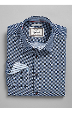 Men's Shirts, 1905 Collection Slim Fit Spread Collar Stars Sportshirt - Jos A Bank