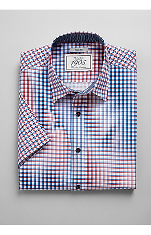 Men's Shirts, 1905 Collection Slim Fit Short Sleeve Point Collar Check Sportshirt - Jos A Bank