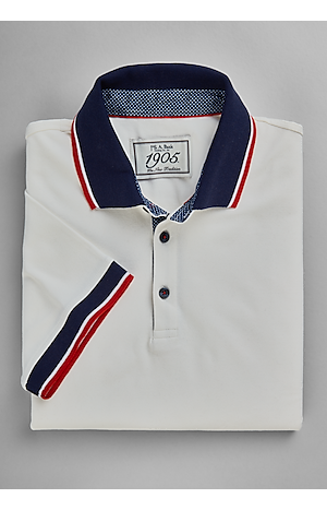 Men's Shirts, 1905 Collection Tailored Fit Stripe Collar Short Sleeve Polo - Jos A Bank