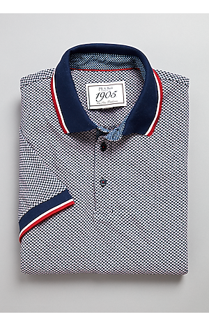Men's Shirts, 1905 Collection Tailored Fit Star Pattern Short-Sleeve Polo Shirt - Jos A Bank