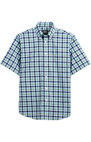 Men's Shirts, Traveler Collection Tailored Fit Button-Down Collar Plaid Short-Sleeve Sportshirt - Jos A Bank