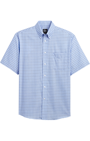 Men's Shirts, Traveler Collection Traditional Fit Button-Down Collar Grid Pattern Short-Sleeve Sportshirt - Jos A Bank