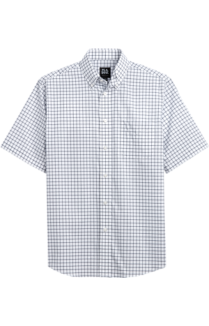 Men's Shirts, Traveler Collection Tailored Fit Button-Down Collar Grid Pattern Short-Sleeve Sportshirt - Jos A Bank