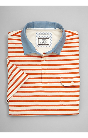 Men's Sale, 1905 Collection Tailored Fit Stripe Short-Sleeve Pique Polo - Jos A Bank
