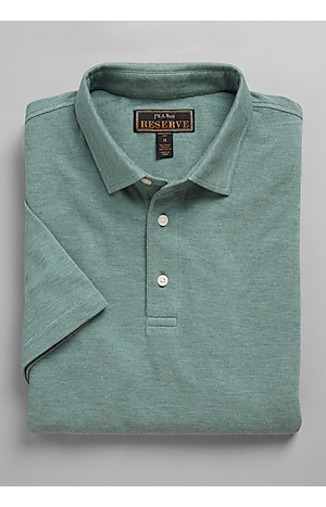 Men's Shirts, Reserve Collection Traditional Fit Solid Short Sleeve Polo - Jos A Bank