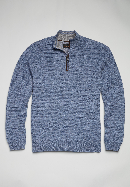 Reserve Collection Cotton & Cashmere Blend Quarter Zip Mock Neck Sweater