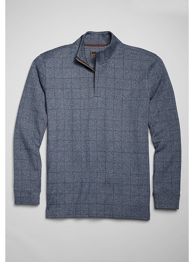 Reserve Collection Windowpane Cotton Quarter Zip Knit Pullover