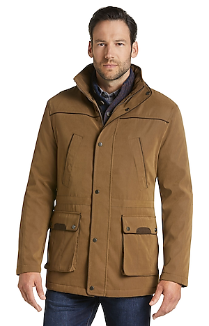 Men's Outerwear, Reserve Collection Traditional Fit Khaki Parka - Jos A Bank