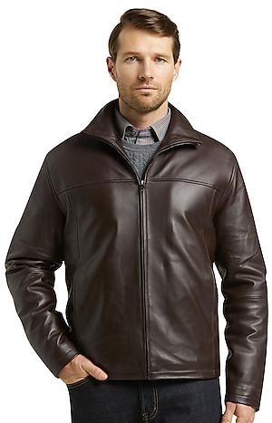 Men's Outerwear, Reserve Collection Traditional Fit Leather Jacket - Jos A Bank
