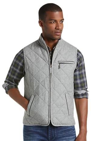 Men's Outerwear, 1905 Collection Tailored Fit Quilted Vest - Jos A Bank