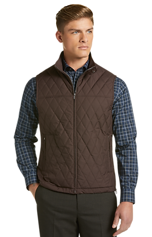 Men's Sale, Travel Tech Tailored Fit Diamond Quilted Vest - Jos A Bank