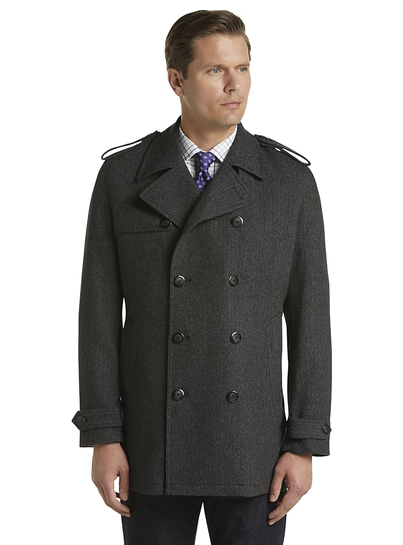 Reserve Traditional Fit Double Breasted Herringbone Wool Blend Coat