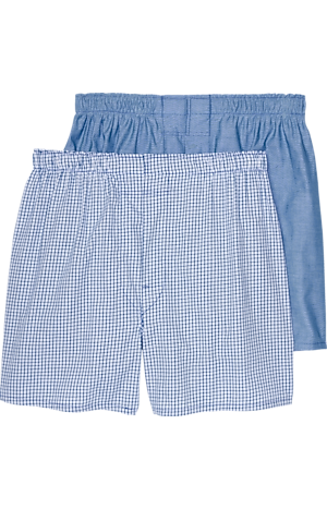 Men's FLYOUT_CATEGORY, Jos. A. Bank Check & Solid Woven Boxers, 2- Pack - Big & Tall - Jos A Bank