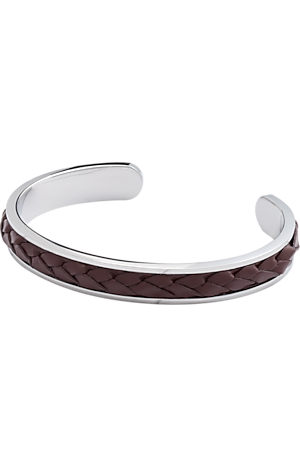 Men's Accessories, Jos. A. Bank Braided Leather Cord & Silver Cuff Bracelet - Jos A Bank