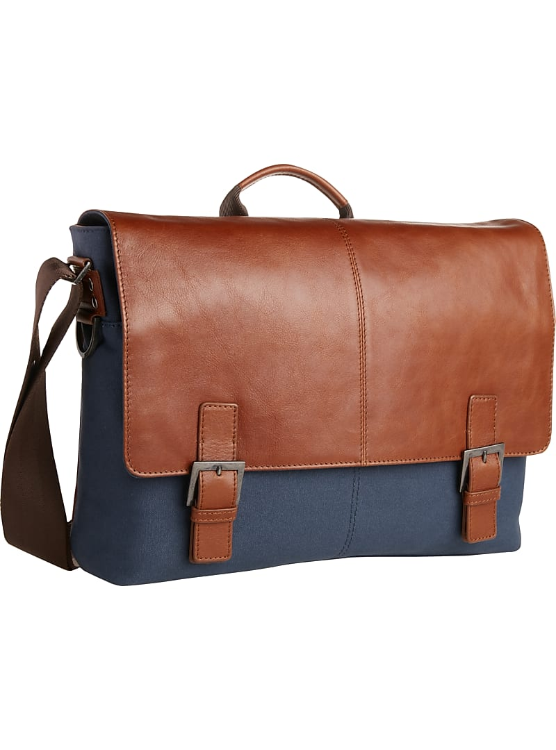 Jos. A. Bank Leather & Canvas Shoulder Bag