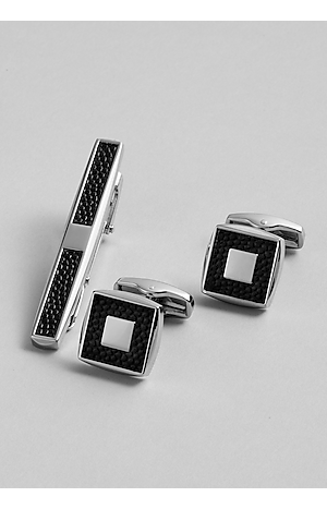 Men's Accessories, Jos. A. Bank Silver and Leatherette Square Tie Bar and Cufflink Set - Jos A Bank